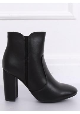 Členkové dámske čižmy čiernej farby na podpätku