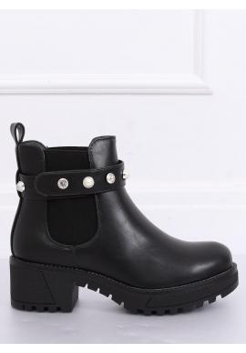 Čierne módne topánky s hrubou podrážkou pre dámy