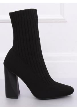 Čierne ponožkové čižmy na podpätku pre dámy