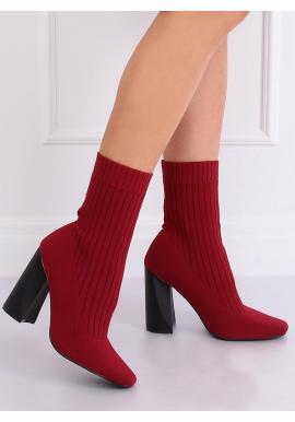 Ponožkové dámske čižmy bordovej farby na podpätku