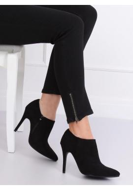 Semišové dámske poltopánky čiernej farby na štíhlom podpätku