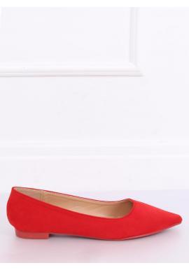 Semišové dámske balerínky červenej farby so špicatou špičkou