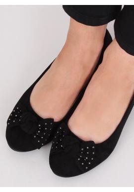 Dámske semišové balerínky so skrytým opätkom v čiernej farbe