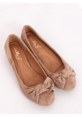Béžové semišové balerínky so skrytým opätkom pre dámy