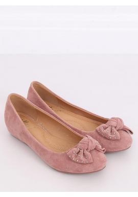 Semišové dámske balerínky ružovej farby so skrytým opätkom
