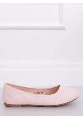 Dámske semišové balerínky v ružovej farbe