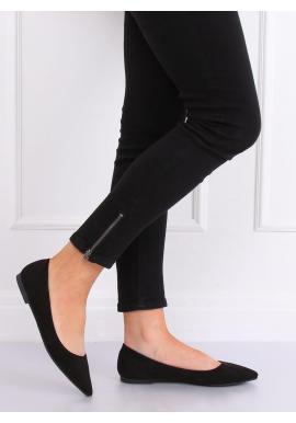 Čierne elegantné balerínky s jemným špicom pre dámy