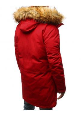 Pánska zimná Parka s kapucňou v červenej farbe