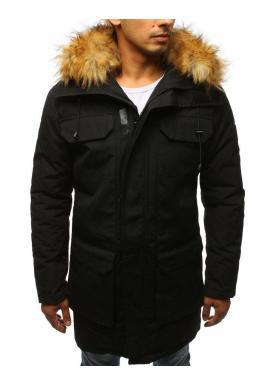 Čierna zimná Parka s kapucňou pre pánov