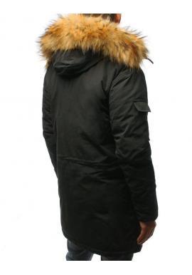 Pánske zimné bundy s kapucňou v tmavosivej farbe