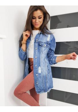 Dlhá riflová dámska bunda modrej farby