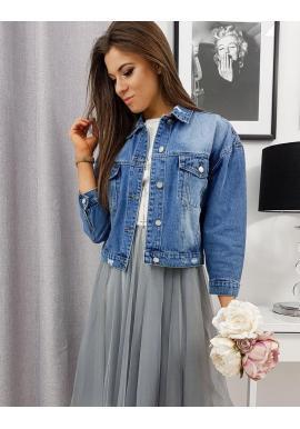 Voľná riflová dámska bunda modrej farby