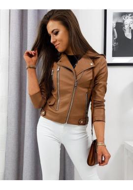 Kožená dámska bunda hnedej farby na prechodné obdobie