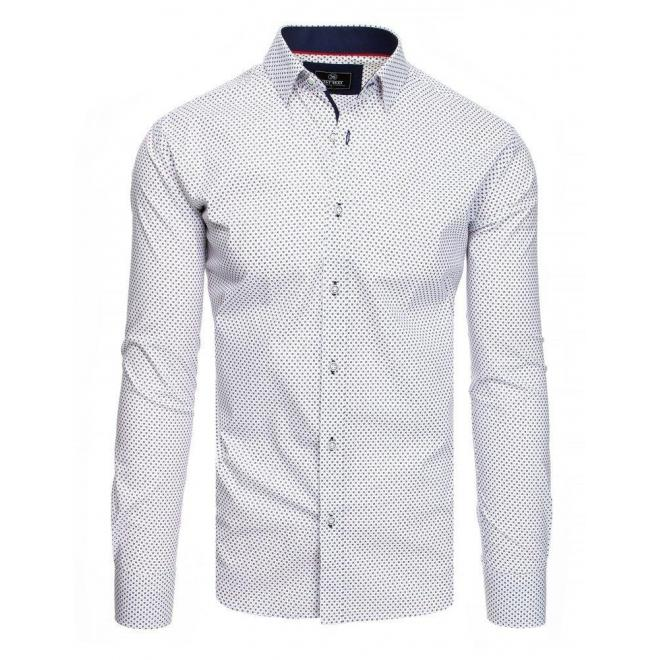 Biele vzorované košele s dlhým rukávom pre pánov