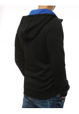 Športová pánska mikina čierno-modrej farby s ozdobným zipsom