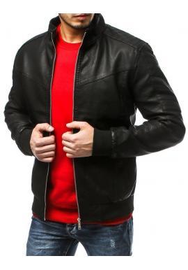 Čierna koženková bunda s prešívaním pre pánov