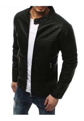 Koženková pánska bunda čiernej farby s prešívaním