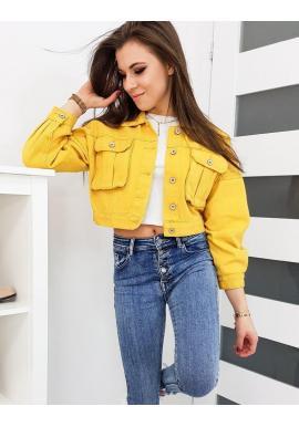 Dámska riflová bunda s oversize strihom v žltej farbe