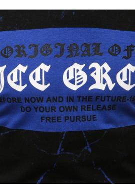 Štýlové pánske tričko čierno-modrej farby s potlačou