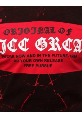 Pánske štýlové tričko s potlačou v čierno-červenej farbe