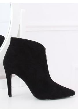 Dámske semišové topánky na štíhlom podpätku v čiernej farbe