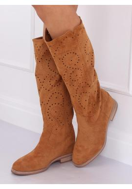 Hnedé ažúrové čižmy na skrytom opätku pre dámy