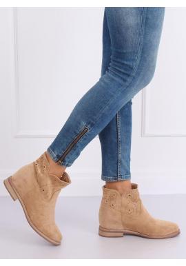 Béžové ažúrové topánky na skrytom opätku pre dámy