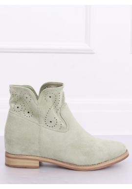 Ažúrové dámske topánky zelenej farby na skrytom opätku
