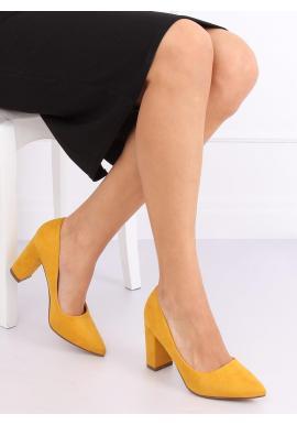 Semišové dámske lodičky žltej farby na stabilnom podpätku