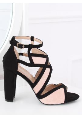Dámske semišové sandále na stabilnom opätku v čierno-ružovej farbe