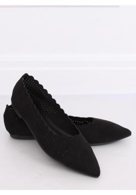 Čierne ažúrové balerínky s jemným špicom pre dámy