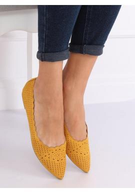 Ažúrové dámske balerínky žltej farby s jemným špicom