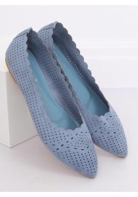 Modré ažúrové balerínky s jemným špicom pre dámy
