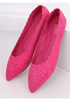Ažúrové dámske balerínky ružovej farby s jemným špicom