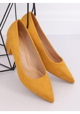 Žlté semišové lodičky na nízkom podpätku pre dámy