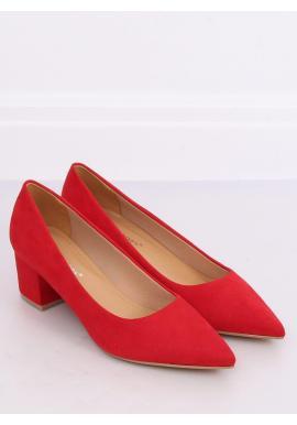 Dámske semišové lodičky na nízkom podpätku v červenej farbe