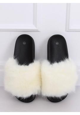 Módne dámske šľapky bielej farby s kožušinou