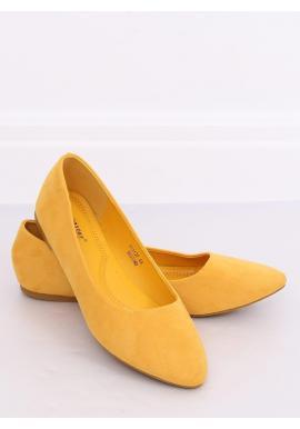 Dámske semišové balerínky v žltej farbe