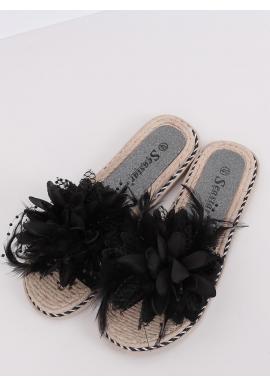 Čierne zdobené šľapky s pierkami pre dámy
