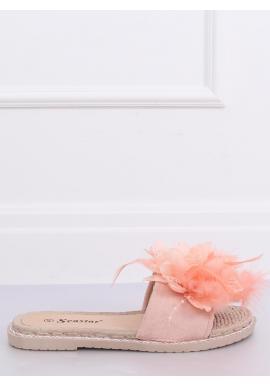 Dámske zdobené šľapky s pierkami v ružovej farbe