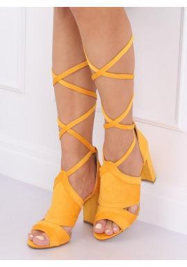 Žlté viazané sandále na stabilnom podpätku pre dámy