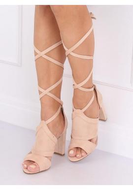 Dámske viazané sandále na stabilnom podpätku v béžovej farbe