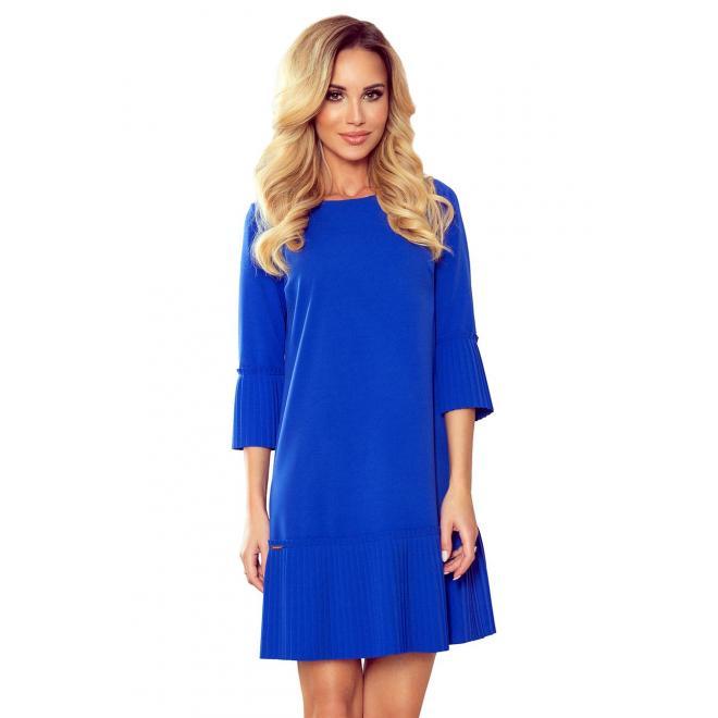 Dámske pohodlné šaty s plisovanými prvkami v modrej farbe