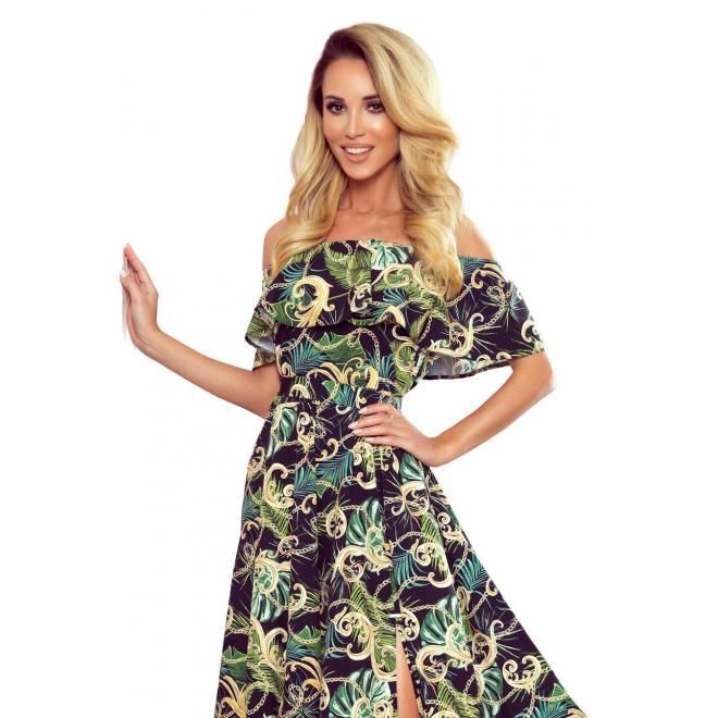 Čierne dlhé šaty s motívom listov pre dámy