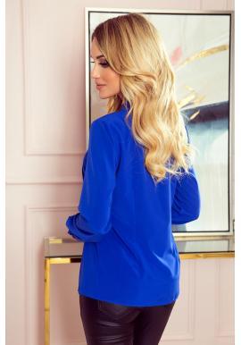 Dámska elegantná blúzka s viazaním vpredu v modrej farbe