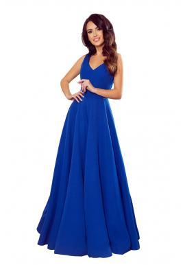 Modré dlhé šaty s výstrihom pre dámy