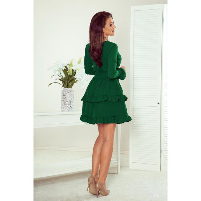Dámske spoločenské šaty s volánmi v zelenej farbe