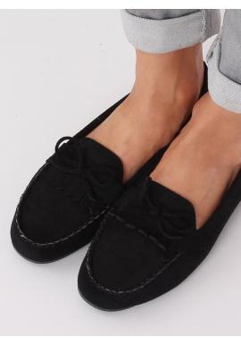 Dámske semišové mokasíny so strapcami a mašľou v čiernej farbe