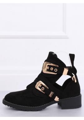 Semišové dámske topánky čiernej farby s prackami