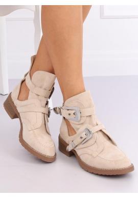 Béžové semišové topánky s prackami pre dámy